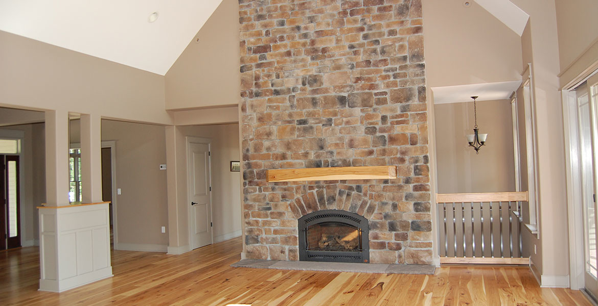 Fireplace in western ranch